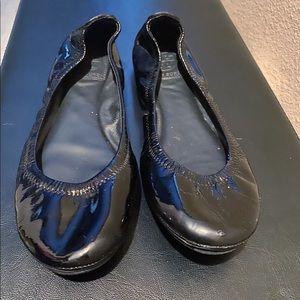 Tory Burch Eddie Black Patent Leather Ballet Flats
